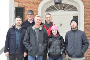 Members of Chicago Phonography and Midwest Society for Acoustic Ecology, left to right, Chad Clark, Dan Godston, Ed Herrmann, Eric Leonardson, Monica Ryan, and Todd Carter.