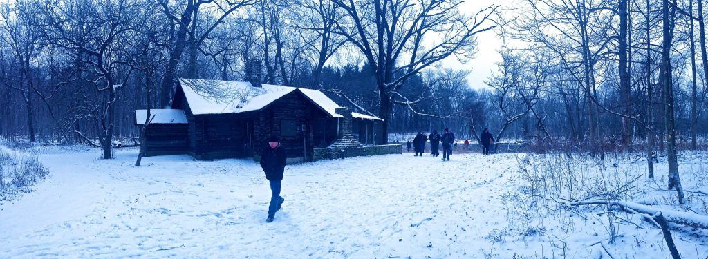"Brushwood Center Soundwalk ""caption""=""Cabin on the Des Plaines River in Ryerson Woods, one site for sounds and scenes of the river."""